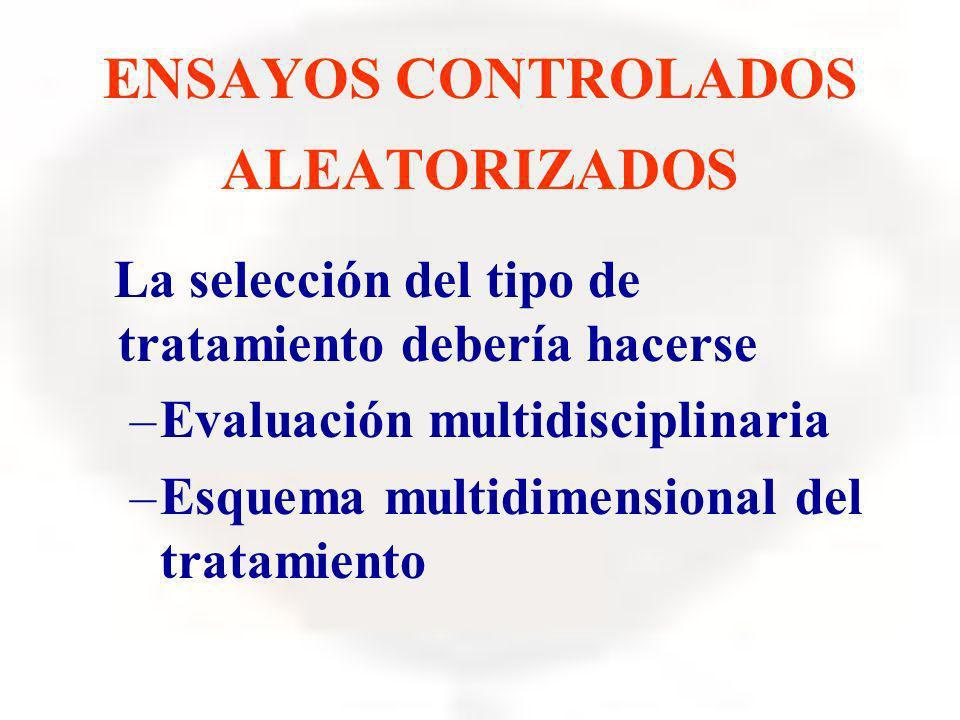 ENSAYOS CONTROLADOS ALEATORIZADOS La selección del tipo de tratamiento debería hacerse –Evaluación multidisciplinaria –Esquema multidimensional del tr