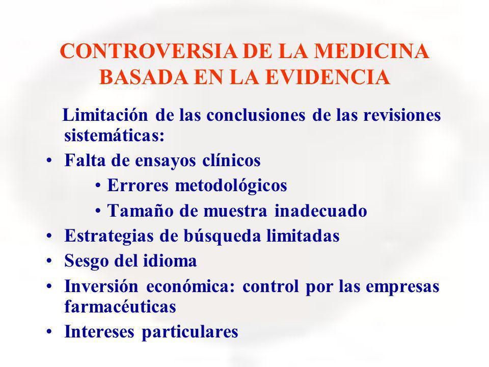 CONTROVERSIA DE LA MEDICINA BASADA EN LA EVIDENCIA Limitación de las conclusiones de las revisiones sistemáticas: Falta de ensayos clínicos Errores me