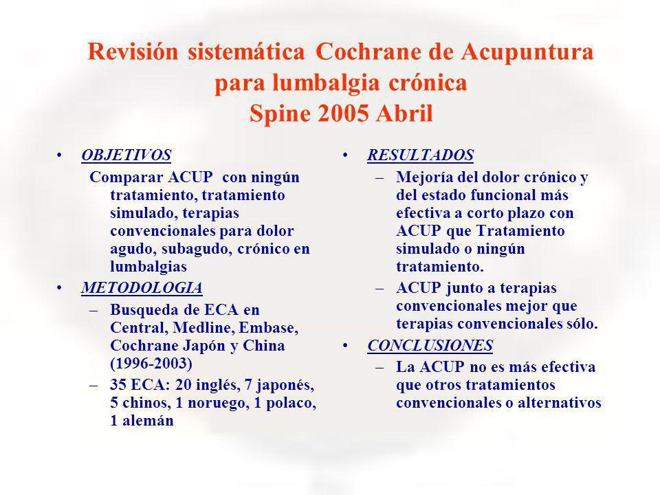 Revisión sistemática Cochrane de Acupuntura para lumbalgia crónica Spine 2005 Abril OBJETIVOS Comparar ACUP con ningún tratamiento, tratamiento simula