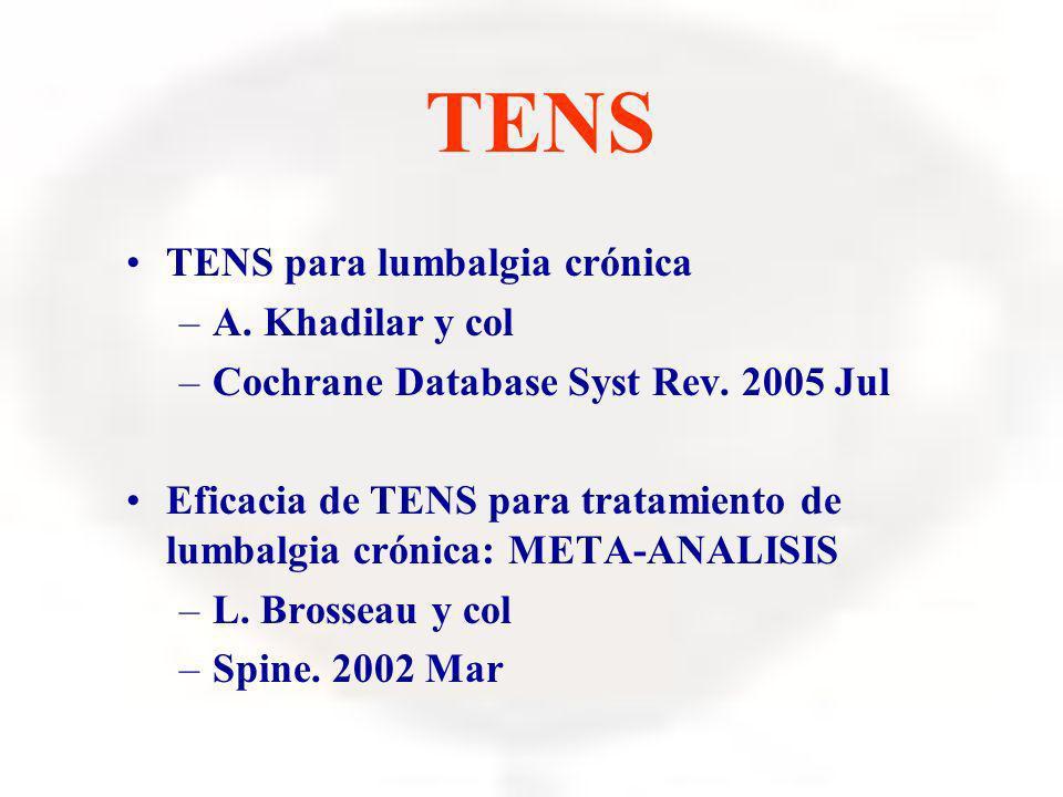 TENS TENS para lumbalgia crónica –A. Khadilar y col –Cochrane Database Syst Rev. 2005 Jul Eficacia de TENS para tratamiento de lumbalgia crónica: META
