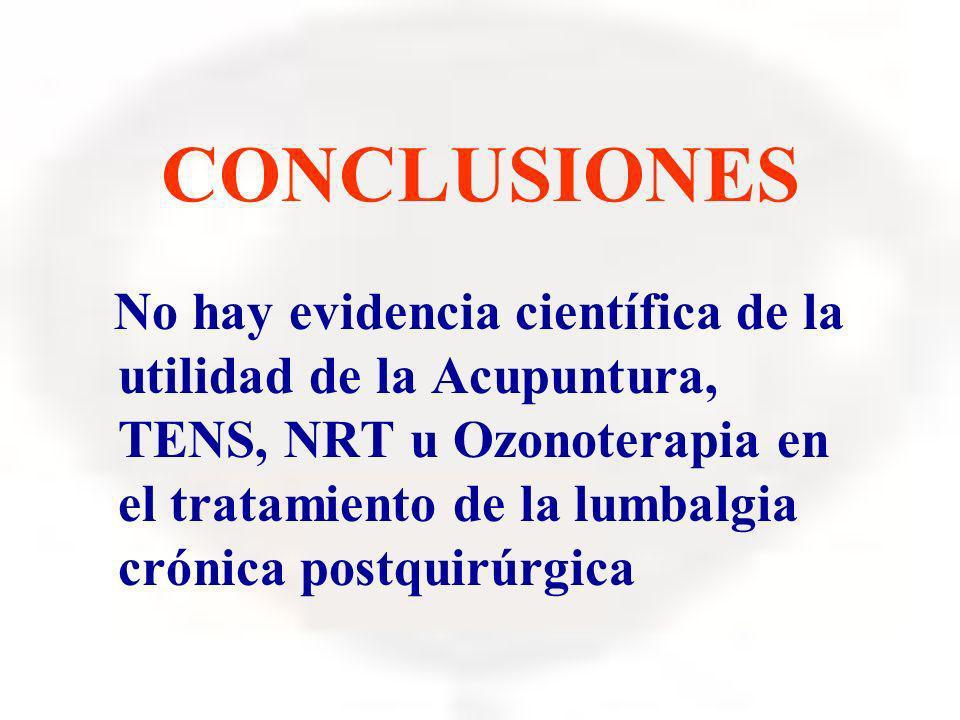 CONCLUSIONES No hay evidencia científica de la utilidad de la Acupuntura, TENS, NRT u Ozonoterapia en el tratamiento de la lumbalgia crónica postquirú