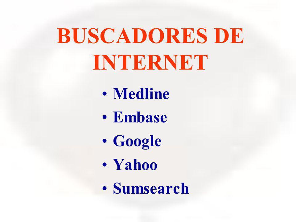 BUSCADORES DE INTERNET Medline Embase Google Yahoo Sumsearch
