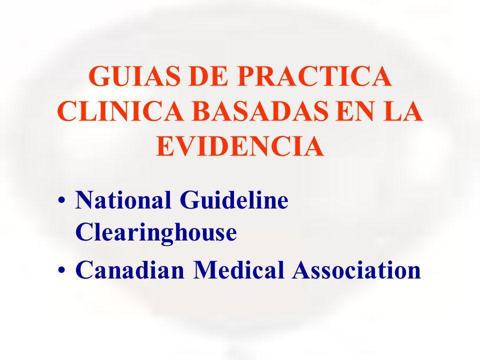 GUIAS DE PRACTICA CLINICA BASADAS EN LA EVIDENCIA National Guideline Clearinghouse Canadian Medical Association