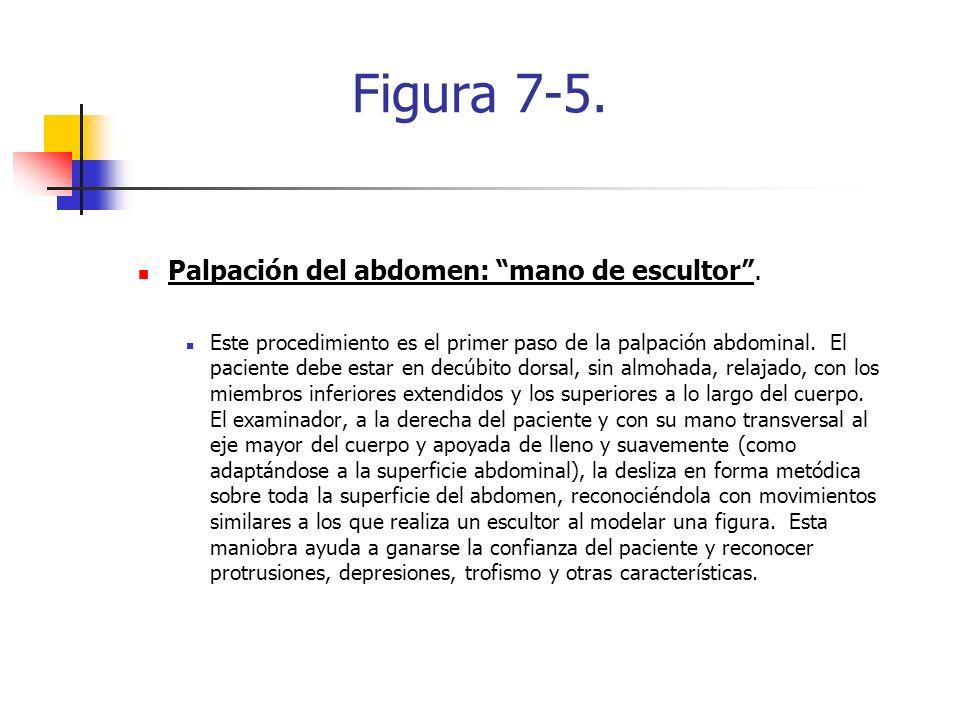 Figura 7-5. Palpación del abdomen: mano de escultor. Este procedimiento es el primer paso de la palpación abdominal. El paciente debe estar en decúbit