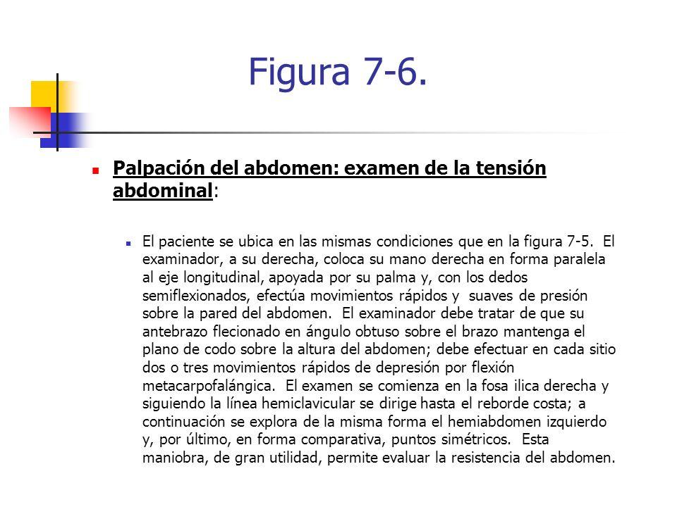 Figura 7-6. Palpación del abdomen: examen de la tensión abdominal: El paciente se ubica en las mismas condiciones que en la figura 7-5. El examinador,