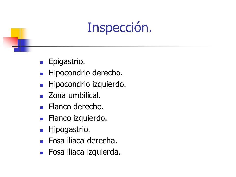 Inspección. Epigastrio. Hipocondrio derecho. Hipocondrio izquierdo. Zona umbilical. Flanco derecho. Flanco izquierdo. Hipogastrio. Fosa iliaca derecha
