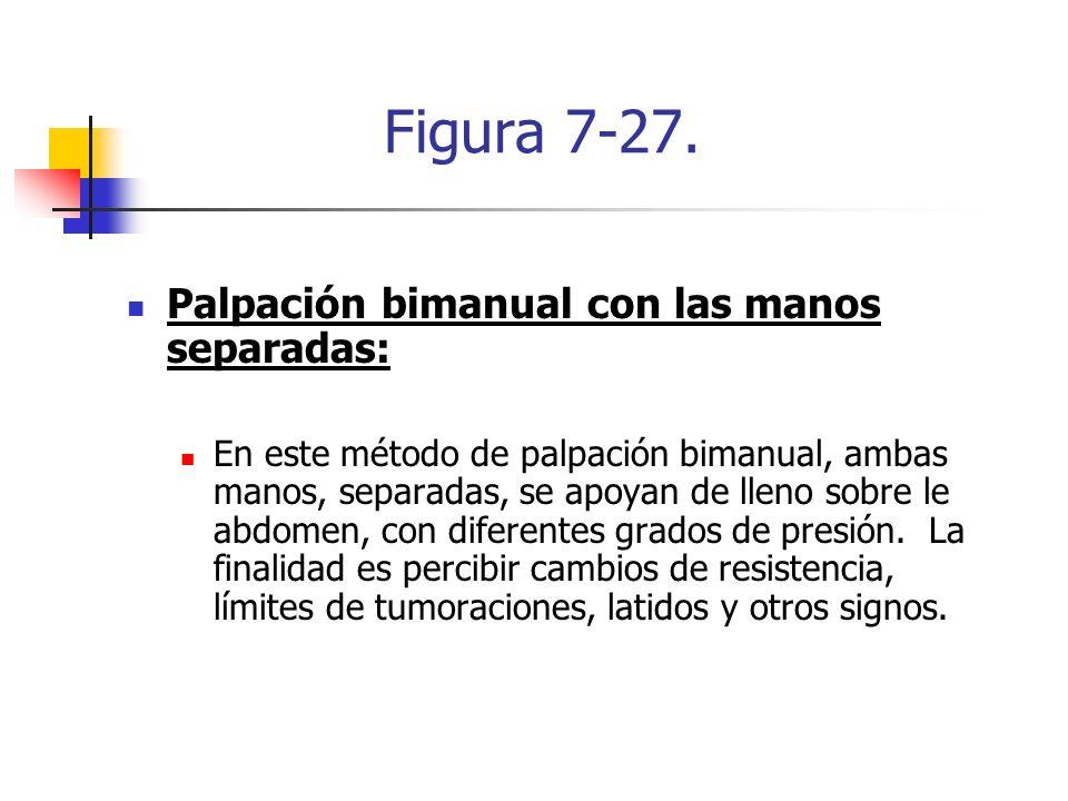 Figura 7-27. Palpación bimanual con las manos separadas: En este método de palpación bimanual, ambas manos, separadas, se apoyan de lleno sobre le abd