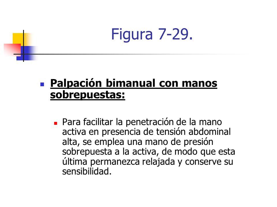 Figura 7-29. Palpación bimanual con manos sobrepuestas: Para facilitar la penetración de la mano activa en presencia de tensión abdominal alta, se emp