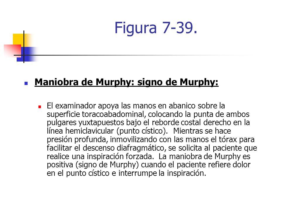 Figura 7-39. Maniobra de Murphy: signo de Murphy: El examinador apoya las manos en abanico sobre la superficie toracoabadominal, colocando la punta de