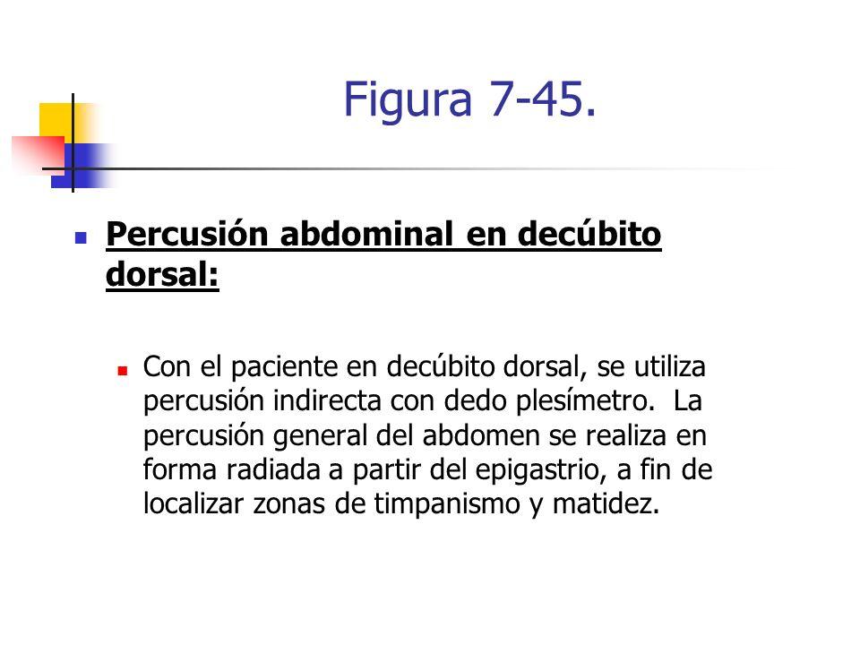 Figura 7-45. Percusión abdominal en decúbito dorsal: Con el paciente en decúbito dorsal, se utiliza percusión indirecta con dedo plesímetro. La percus