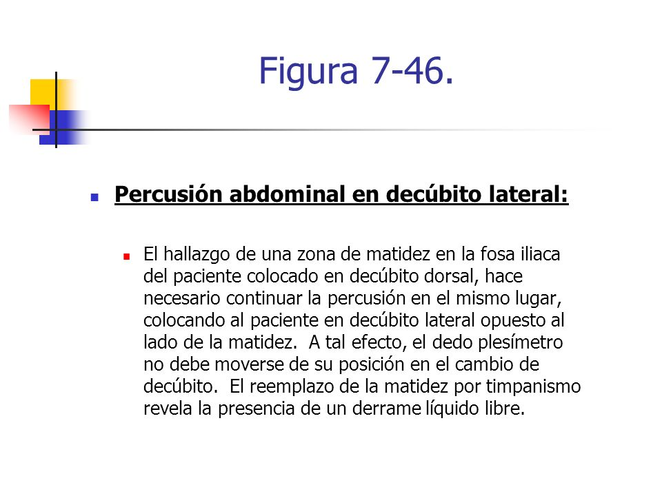 Figura 7-46. Percusión abdominal en decúbito lateral: El hallazgo de una zona de matidez en la fosa iliaca del paciente colocado en decúbito dorsal, h