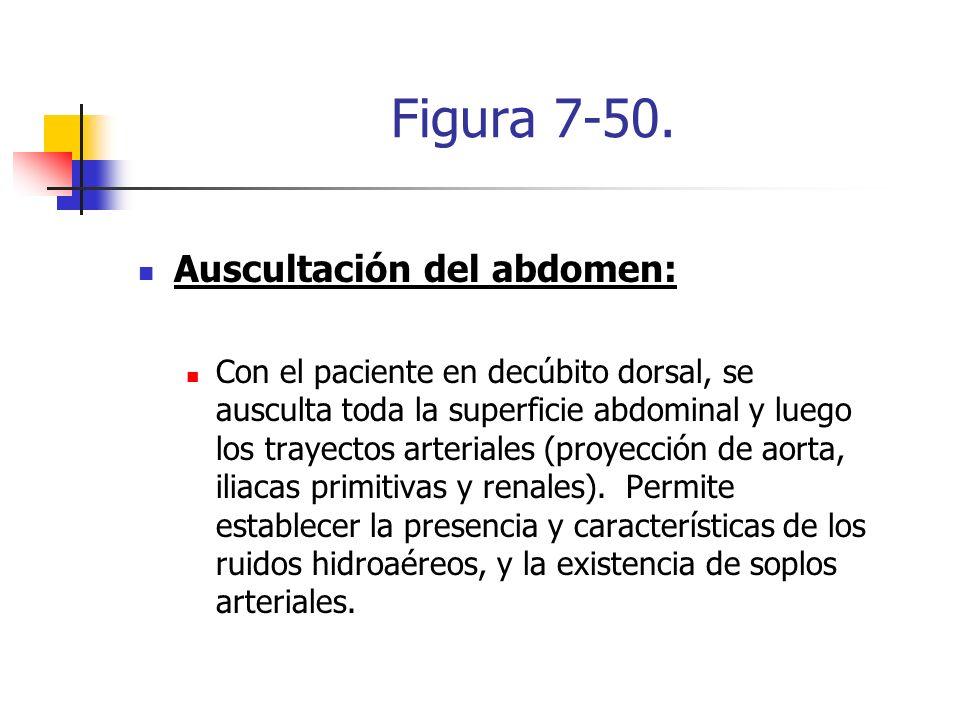 Figura 7-50. Auscultación del abdomen: Con el paciente en decúbito dorsal, se ausculta toda la superficie abdominal y luego los trayectos arteriales (