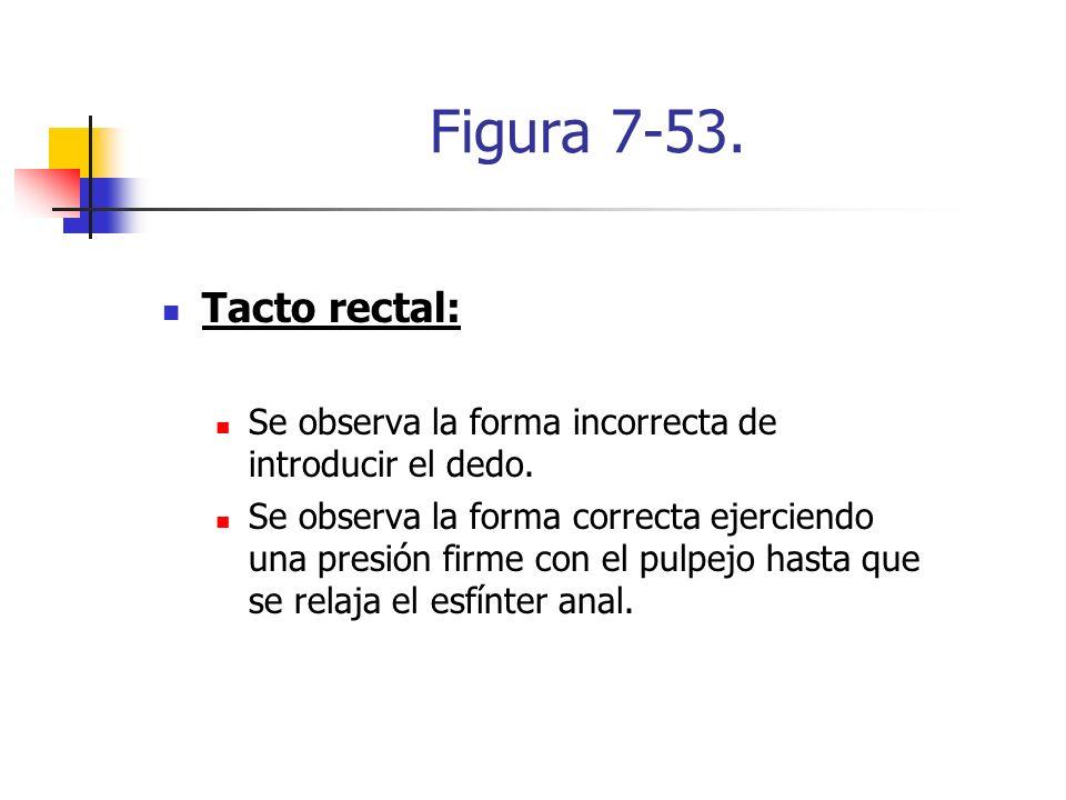 Figura 7-53. Tacto rectal: Se observa la forma incorrecta de introducir el dedo. Se observa la forma correcta ejerciendo una presión firme con el pulp