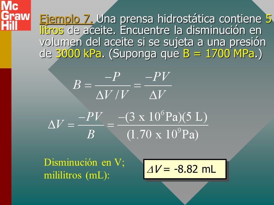 El módulo volumétrico Dado que F/A por lo general es la presión P, se puede escribir: Las unidades siguen siendo pascales (Pa) pues la deformación es
