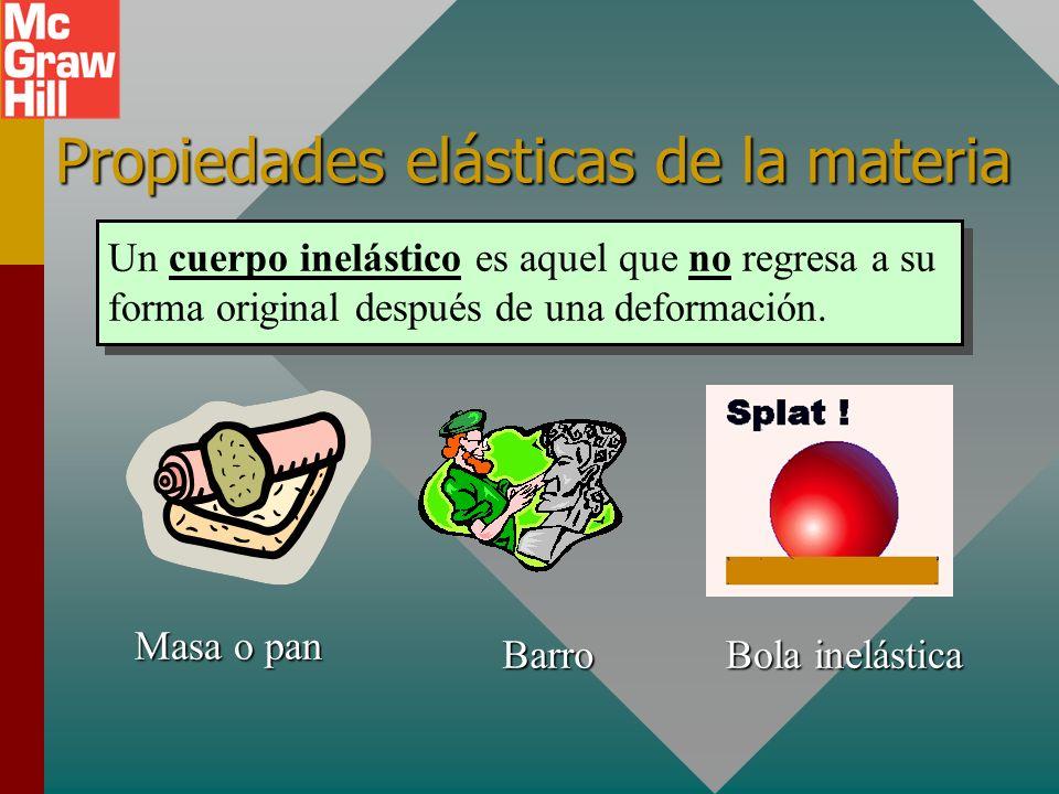 Propiedades elásticas de la materia Un cuerpo elástico es aquel que regresa a su forma original después de una deformación. Bola de golf Balón de socc