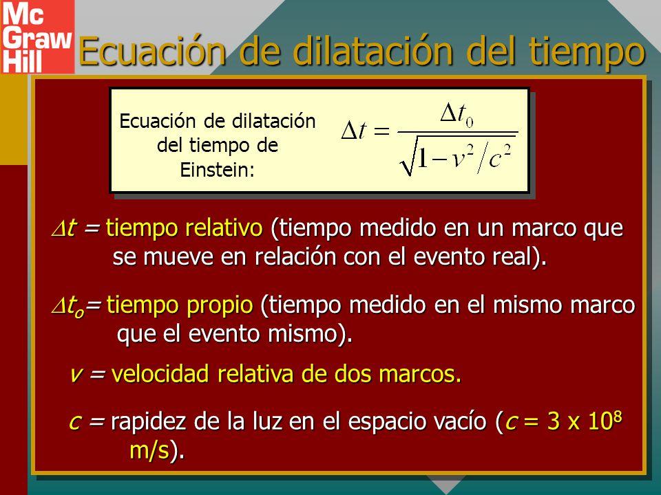 Tiempo relativo (Cont.) Sustitución de: Trayectoria de luz para el pasajero d t o d R t