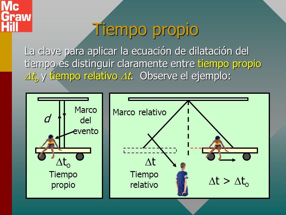 Ecuación de dilatación del tiempo Ecuación de dilatación del tiempo de Einstein: t = tiempo relativo (tiempo medido en un marco que se mueve en relaci