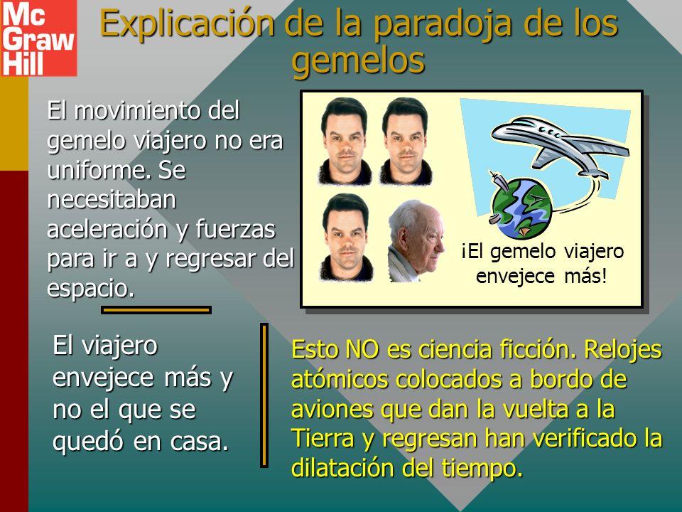 Paradoja de los gemelos Un par de gemelos está en la Tierra. Uno sale y viaja durante 10 años a 0.9c. Cuando el viajero regresa, ¡es 23 años más viejo