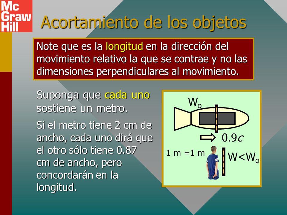 Ejemplo 2: Un metro se mueve a 0.9c en relación con un observador. ¿Cuál es la longitud relativa que ve el observador? 0.9c 1 m LoLo L = ¿? Longitud r