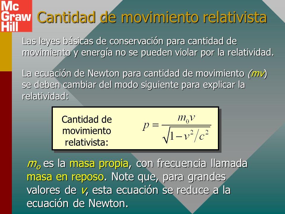 Acortamiento de los objetos Note que es la longitud en la dirección del movimiento relativo la que se contrae y no las dimensiones perpendiculares al