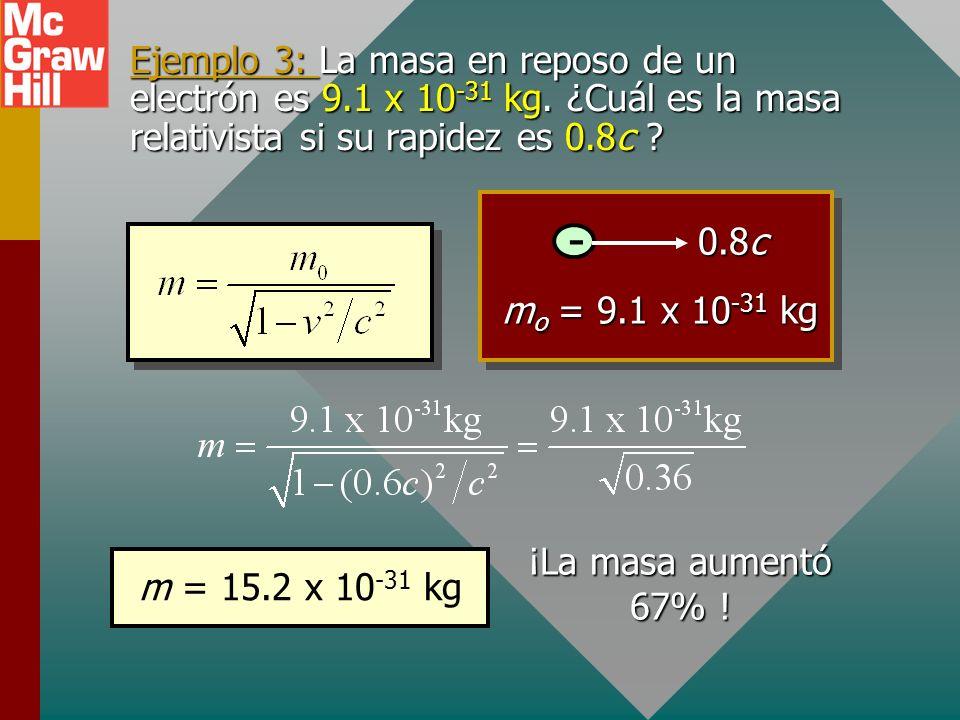 Masa relativista Si se debe conservar la cantidad de movimiento, la masa relativista m debe ser consistente con la siguiente ecuación: Masa relativist