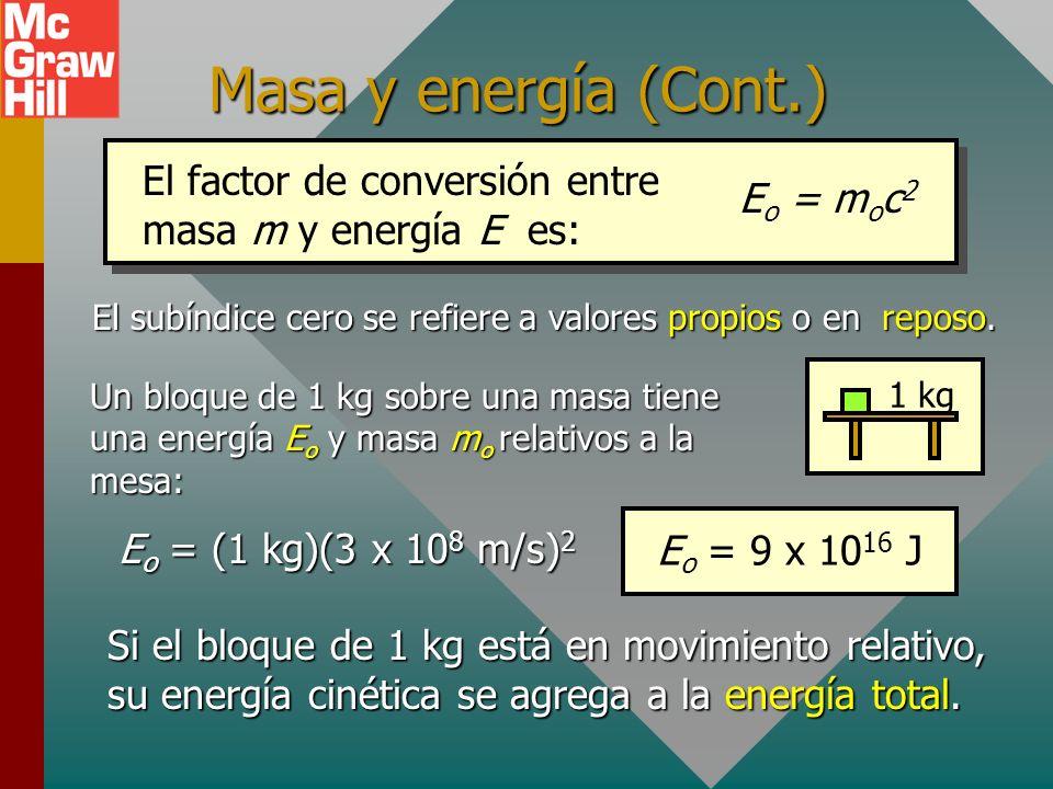 Energía relativista total La fórmula general para la energía relativista total involucra la masa en reposo m o y la cantidad de movimiento relativista
