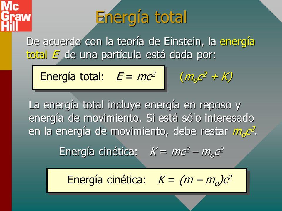 Masa y energía (Cont.) El factor de conversión entre masa m y energía E es: E o = m o c 2 El subíndice cero se refiere a valores propios o en reposo.