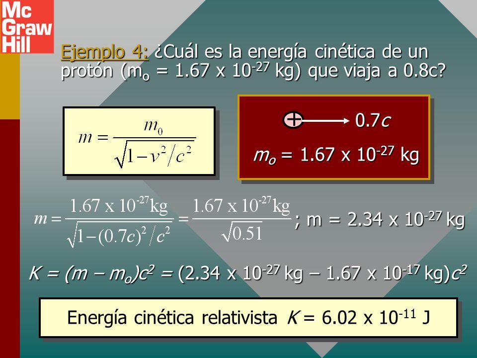 Energía total De acuerdo con la teoría de Einstein, la energía total E de una partícula está dada por: Energía total: E = mc 2 La energía total incluy