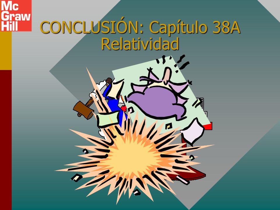 Resumen (Cont.) Energía total: E = mc 2 Energía cinética: K = (m – m o )c 2 Cantidad de movimiento relativista: