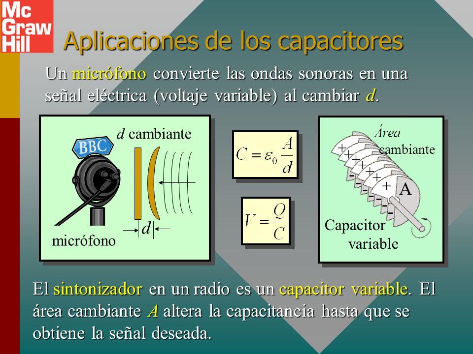 Ejemplo 3. Las placas de un capacitor de placas paralelas tienen una área de 0.4 m 2 y están separadas 3 mm en aire. ¿Cuál es la capacitancia? 3 mm d