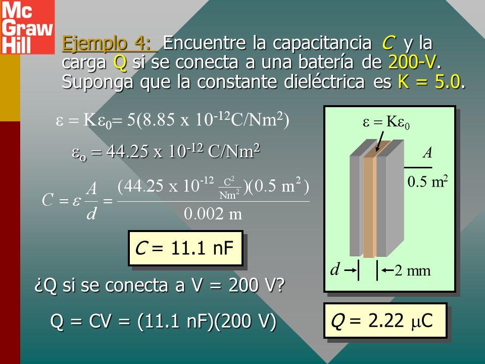 La permitividad de un medio La capacitancia de un capacitor de placas paralelas con un dieléctrico se puede encontrar de: La constante es la permitivi