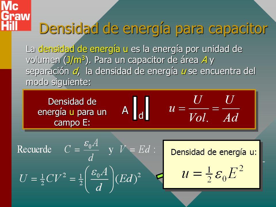 Ejemplo 6: En el Ej. 4 se encontró que la capacitancia era be 11.1 nF, el voltaje 200 V y la carga 2.22 C. Encuentre la energía potencial U. U = 222 J