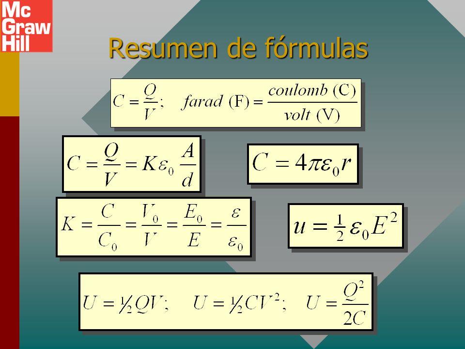 Densidad de energía para capacitor La densidad de energía u es la energía por unidad de volumen (J/m 3 ). Para un capacitor de área A y separación d,
