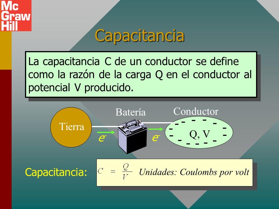 Máxima carga sobre un conductor Tierra Batería Conductor - - - - - - - - - - - - - - e-e- e-e- Una batería establece una diferencia de potencial que p