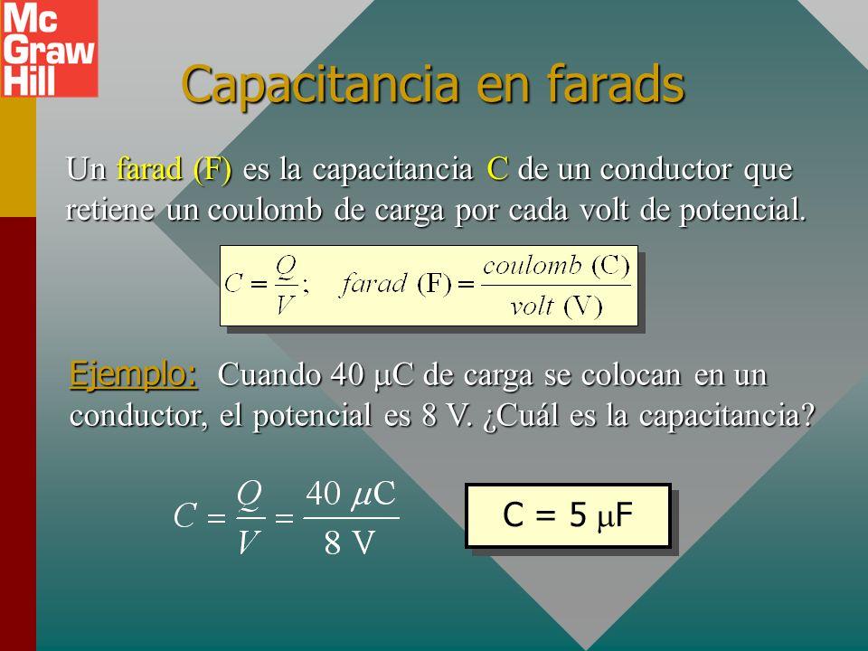 Capacitancia La capacitancia C de un conductor se define como la razón de la carga Q en el conductor al potencial V producido. Tierra Batería Conducto