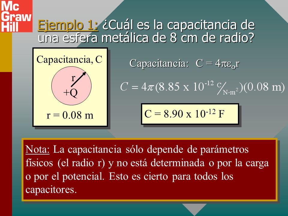 Capacitancia de conductor esférico +Q r E y V en la superficie. En la superficie de la esfera: Recuerde: Y: Capacitancia: Capacitancia, C