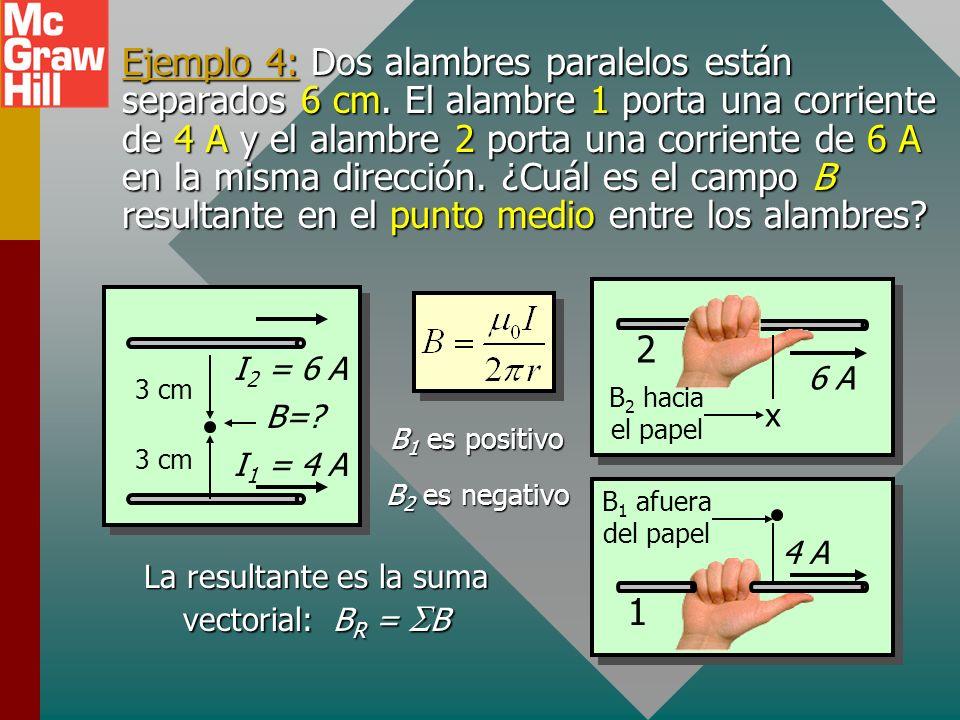 Ejemplo 3: Un largo alambre recto porta una corriente de 4 A hacia la derecha de la página. Encuentre la magnitud y dirección del campo B a una distan