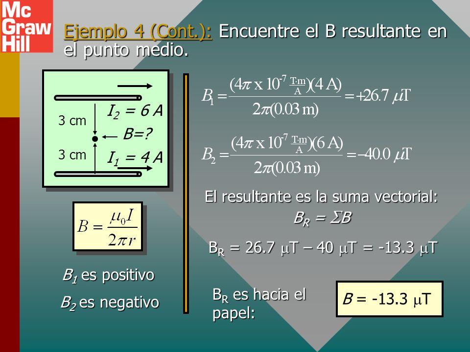 Ejemplo 4: Dos alambres paralelos están separados 6 cm. El alambre 1 porta una corriente de 4 A y el alambre 2 porta una corriente de 6 A en la misma