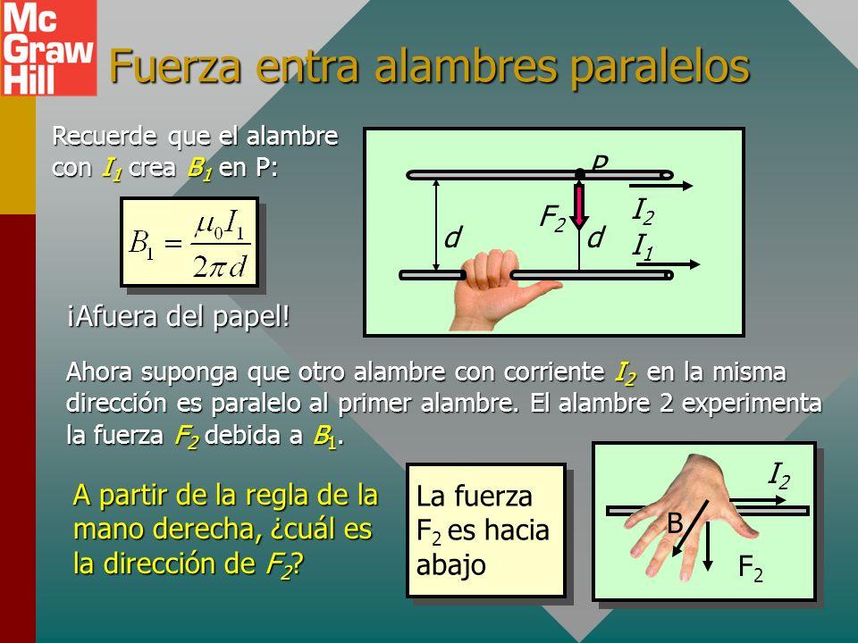 Ejemplo 4 (Cont.): Encuentre el B resultante en el punto medio. I 1 = 4 A 3 cm B=? 3 cm I 2 = 6 A B 1 es positivo B 2 es negativo El resultante es la