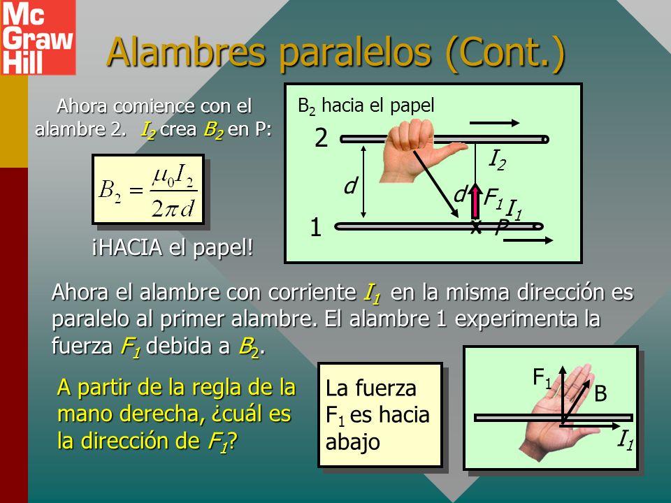 Fuerza entra alambres paralelos I1I1 Recuerde que el alambre con I 1 crea B 1 en P: ¡Afuera del papel! d P I2I2 d Ahora suponga que otro alambre con c