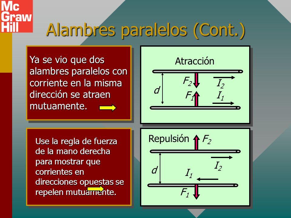 Alambres paralelos (Cont.) Ahora comience con el alambre 2. I 2 crea B 2 en P: ¡HACIA el papel! Ahora el alambre con corriente I 1 en la misma direcci