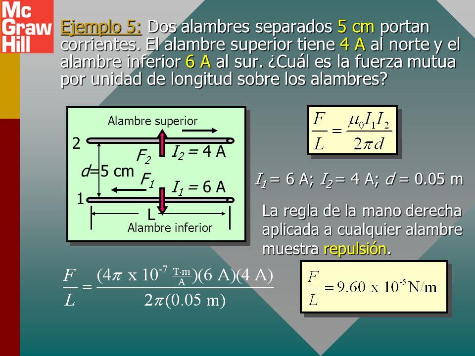Cálculo de fuerza sobre alambres El campo de la corriente en el alambre 2 está dado por: La fuerza F 1 sobre el alambre 1 es: F 1 = I 1 B 2 L I2I2 d F