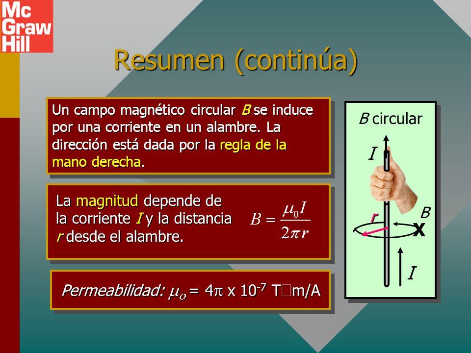 Resumen de fórmulas I sen I B v F Corriente I en alambre: Longitud L B F = IBL sen Fuerza F sobre un alambre que porta corriente I en un campo B dado.
