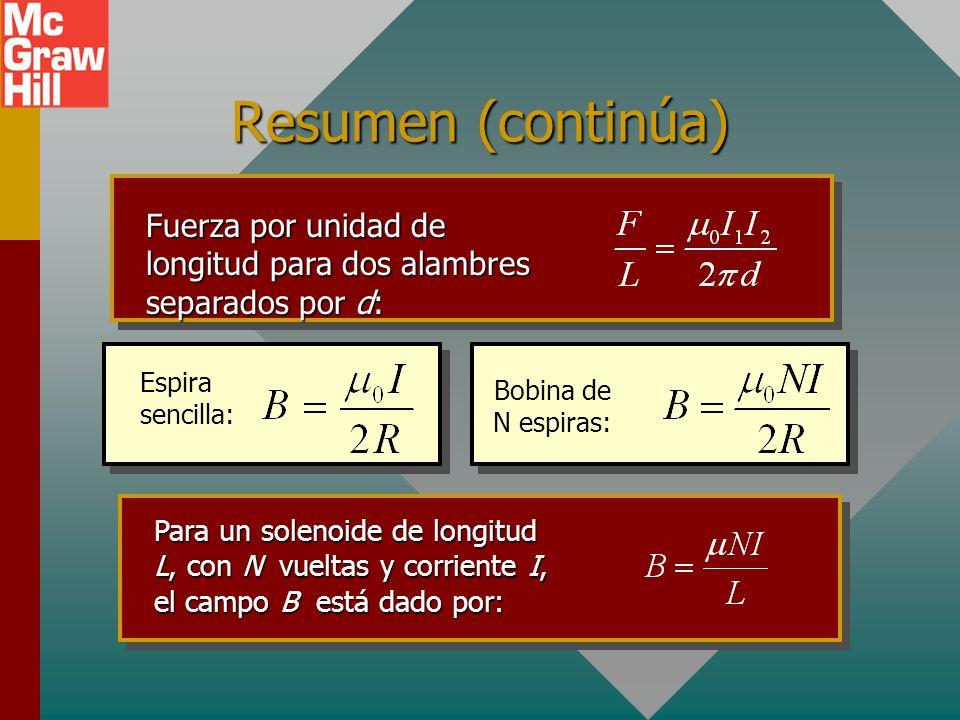 Resumen (continúa) Permeabilidad: = 4 x 10 -7 T m/A Un campo magnético circular B se induce por una corriente en un alambre. La dirección está dada po