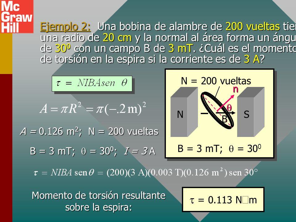 Momento de torsión sobre espira de corriente x x x x x x x x x x b a I Recuerde que el momento de torsión es el producto de la fuerza y el brazo de mo