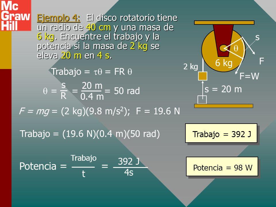 Trabajo y potencia para rotación Trabajo = Fs = FR F F s s = R FR Trabajo = Potencia = = Trabajo t t = t Potencia = Momento de torsión x velocidad ang