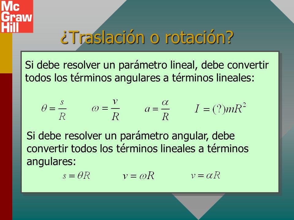 Conversiones angular/lineal En muchas aplicaciones, debe resolver una ecuación con parámetros angulares y lineales. Es necesario recordar los puentes