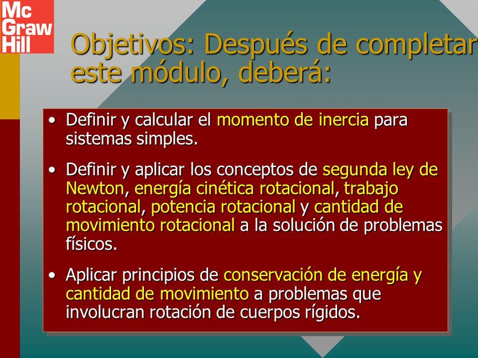 Objetivos: Después de completar este módulo, deberá: Definir y calcular el momento de inercia para sistemas simples.Definir y calcular el momento de inercia para sistemas simples.