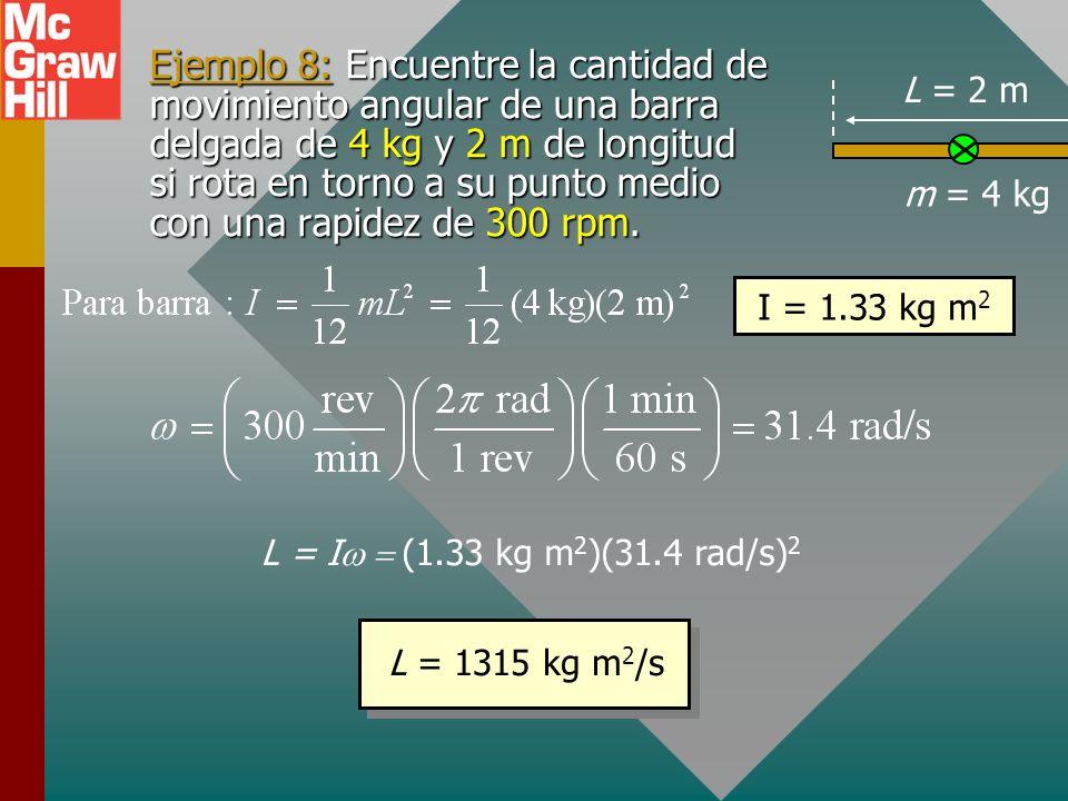 Definición de cantidad de movimiento angular m2m2 m3m3 m4m4 m m1m1 eje v = r Objeto que rota con constante Considere una partícula m que se mueve con