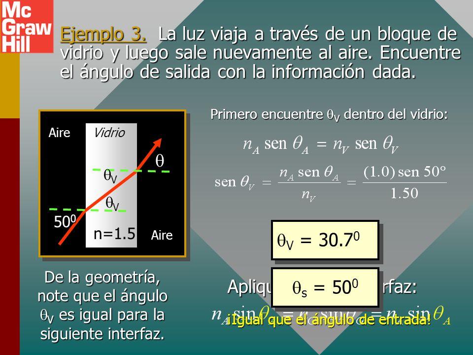 Forma simplificada de la ley Dado que usualmente están disponibles los índices de refracción para muchas sustancias comunes, con frecuencia la ley de